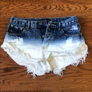 Bleached jean shorts